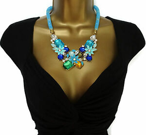 Turquoise-Blue-Stardust-Necklace-With-Fixed-Pendants-Rhinestones-Crystals-Bib