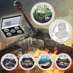 WR-World-War-2-Tank-Models-Retro-Art-Silver-Coin-Medal-Set-Coin-Collection-Box