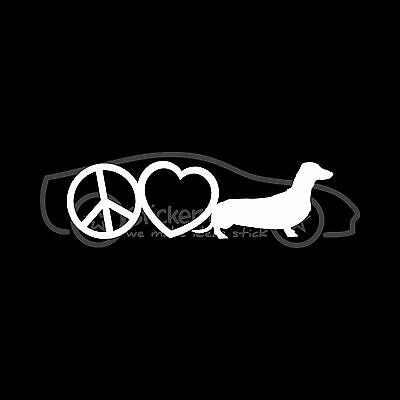 PEACE LOVE DACHSHUND Sticker Wiener Dog Breed Decal Rescue Family Low Adopt V2