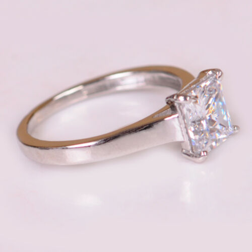 Solid 14KT White Gold Brilliant Princess Shape 2.30CT Solitaire Engagement Ring