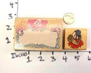Wooden-RUBBER-STAMP-Block-Lot-Party-Clowns-Happy