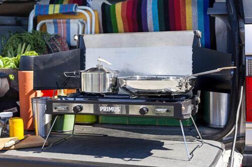 Primus feu de camp en acier inoxydable 25 cm Poêle à frire-Poignée repliable /& Sac de rangement