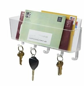 Key Organizer Mail Letter Holder Rack Office Entryway Kitchen Wall Mount Clear