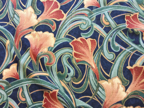 100/% Cotton Selling per metre Tiger Lilly Midnight By Mostyns Retro fabric