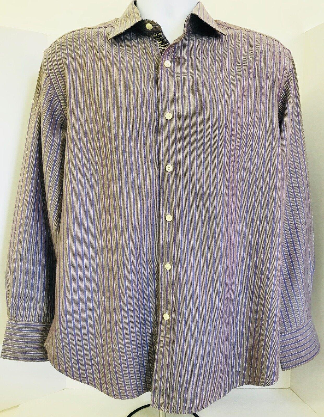 Shirt Robert Striped Flip Tan Lg Floral Long Cuff Contrast Graham htsxdCQr