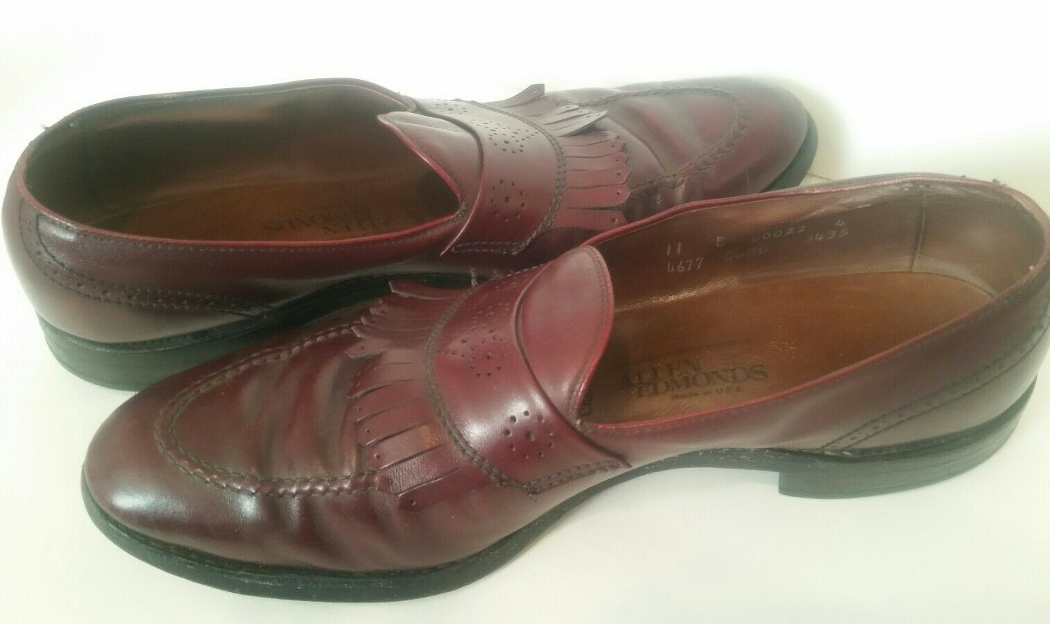 Men shoes Allen Edmonds Chelsea Burgundy Loafers Slip On Leather Size 11 B
