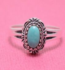 JUST THE RIGHT SIZE PRETTY TURQUOISE RING ALL Genuine Sterling Silver.925 Size 8