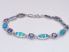 Ladies Hand Made Sterling 925 Fine Silver Opal Sapphire & Tanzanite Bracelet