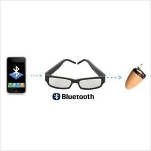c4293bc130 Image is loading Glasses-Bluetooth-Earpiece-Spy-Hidden-Wireless-Invisible -Mini-