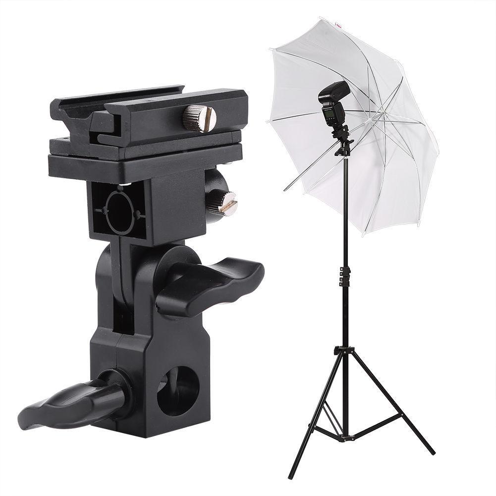 Umbrella Stand Flash Hot Shoe Swivel Light Mount Bracket Type B SET Holder
