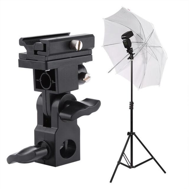 Swivel Triple Hot Shoe Mount Adapter Flash Light Stand Umbrella Holder B Bracket