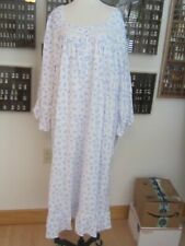 EILEEN WEST LONG NIGHTGOWN COTTON FLANNEL PERIWINKLE EMBROIDERED FILIGREE  XL