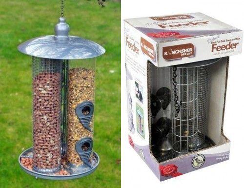 NEW BIRD FEEDER LARGE GARDEN DELUXE HANGING 3 IN 1 SUET FAT BALL SEED NUT WILD