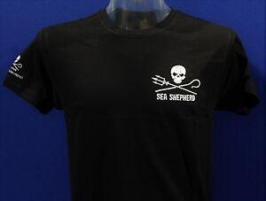 Unisex-Sea-Shepherd-Jolly-Roger-Black-T-shirt-skull-Whale-Wars