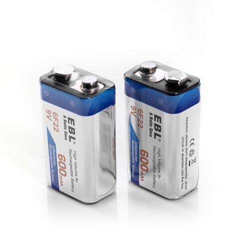 4x 600mAh 9V 6F22 Li-ion Rechargeable Batteries+Universal 9 Volt Battery Charger