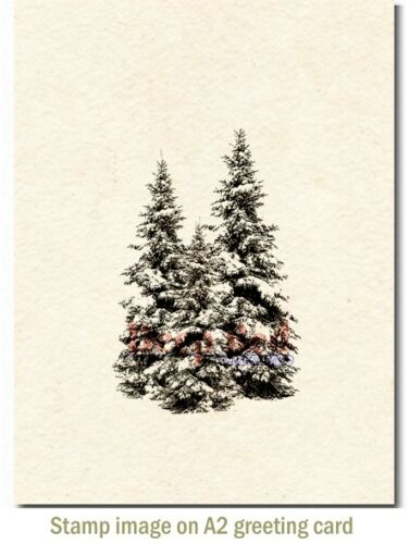 Deep Red Stamps Winter Pines Rubber Cling Stamp