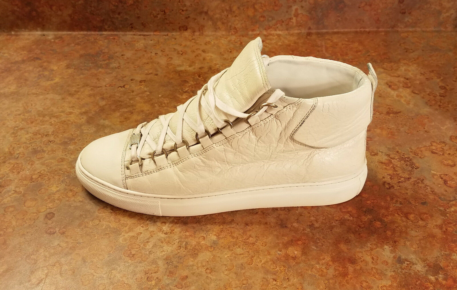 Balenciaga 'Arena' Creased High Top White Sneakers Mens 7 US 40 Eur. MSRP 645