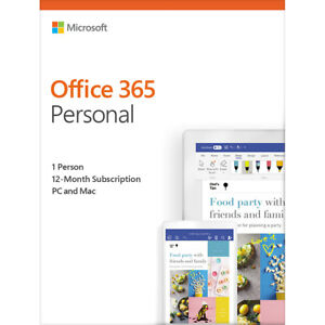 Details about Microsoft Office 365 Personal 12-month Subscription, 1  Person, PC/Mac Key Card