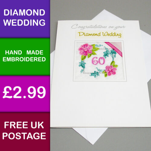 Brodé diamant mariage anniversaire carte handmade in uk K82 60 ans