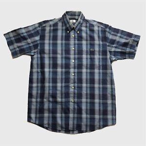 Mens-Vintage-Lacoste-Short-Sleeve-Check-Shirt-Medium-Large-Blue