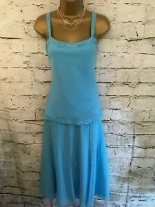 Gina-Bacconi-Turquoise-Chiffon-Special-Occasion-Outfit-UK-12-US-8-EU-40-RRP-250