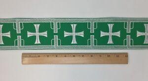 Vintage-Casula-Bianco-Croce-su-Verde-8-9cm-Bendaggio-Venduto-da-da-Campo