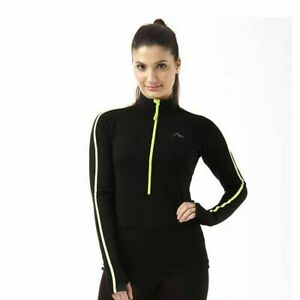More-Mile-Ladies-Running-Fitness-Top-Half-Zip-Long-Sleeve-Ftiness-T-shirt-Black