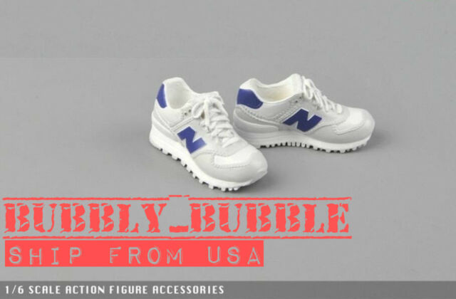 "1//6 Sneakers Running Shoes WHITE For 12/"" Hot Toys Phicen Male Female Figure USA"