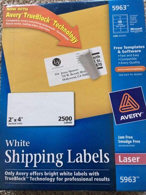2500 avery labels laser print 5963 adhesive 2 x 4 250 sheet