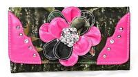 Pink Cute Western Cowgirl Camo Bling Rhinestone Flower Ladies Trifold Wallet