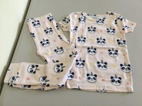 New Carter/'s Girls Pink Panda Pajama Set Snug fit Short Sleeve Long Pants