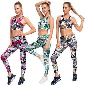 2Pcs Women Gym Set Stretchy High Waisted Slimming Yoga Leggings + Sport Bra SM01