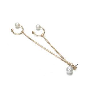 Earrings 1 Piece Punk Rock Wrap Double Pearl Bead Ear Cuff Clip Earring Woman Gothic Bead Clip Earrings Fashion Jewelry Buy Now Clip Earrings