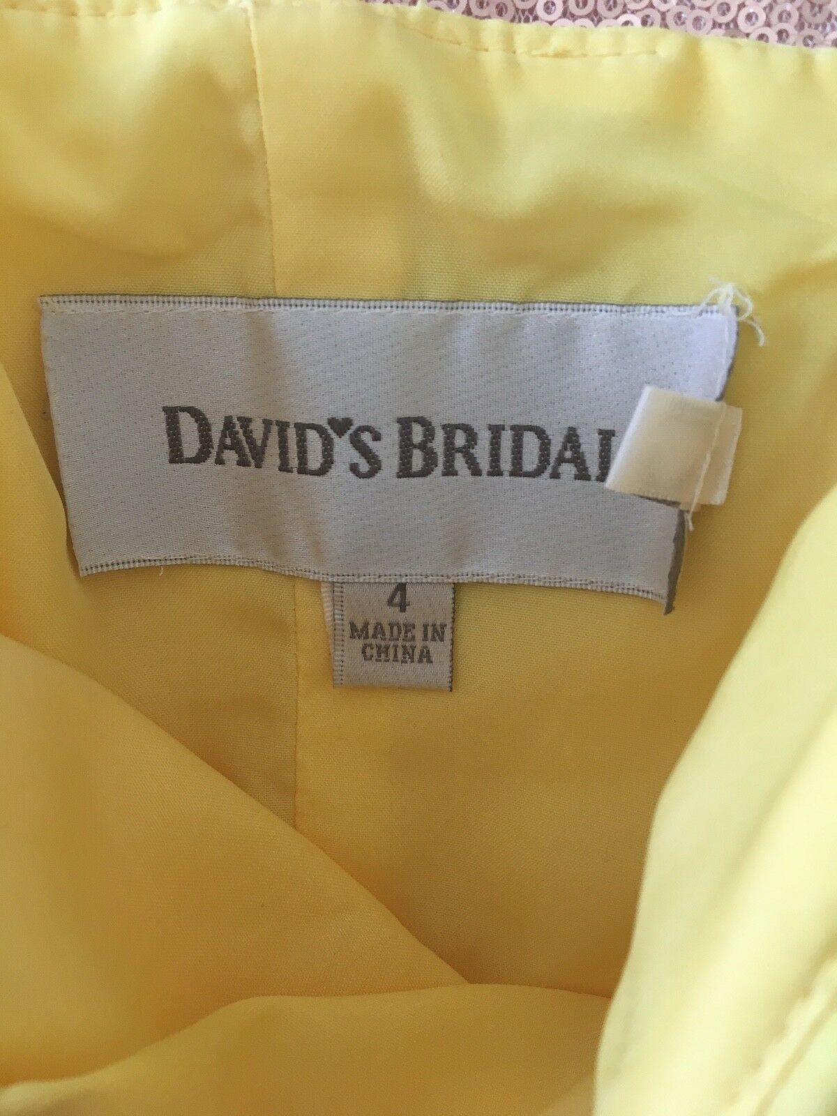 Bridesmaid dress, yellow, size 4, worn worn worn once. From David's Bridal.  50. 4f332d