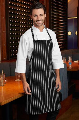 Noir Et Rayure Blanche Boucher Tablier de Cuisine Cooking Chef Tablier avec poche
