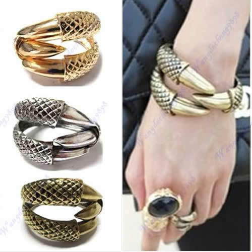 Dragon Clamp Cuff Gothic Punk Rock Bird Claw Eagle 3 Talon Bangle Bracelet Hot