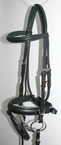 FSS German Posh DARK HUNTER GREEN Comfort Padded Dressage CRANK Bridle Reins NEW