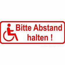 Abstand Halten Rollstuhlfahrer Behinderten Auto Aufkleber Vinyl Stickers 15cm