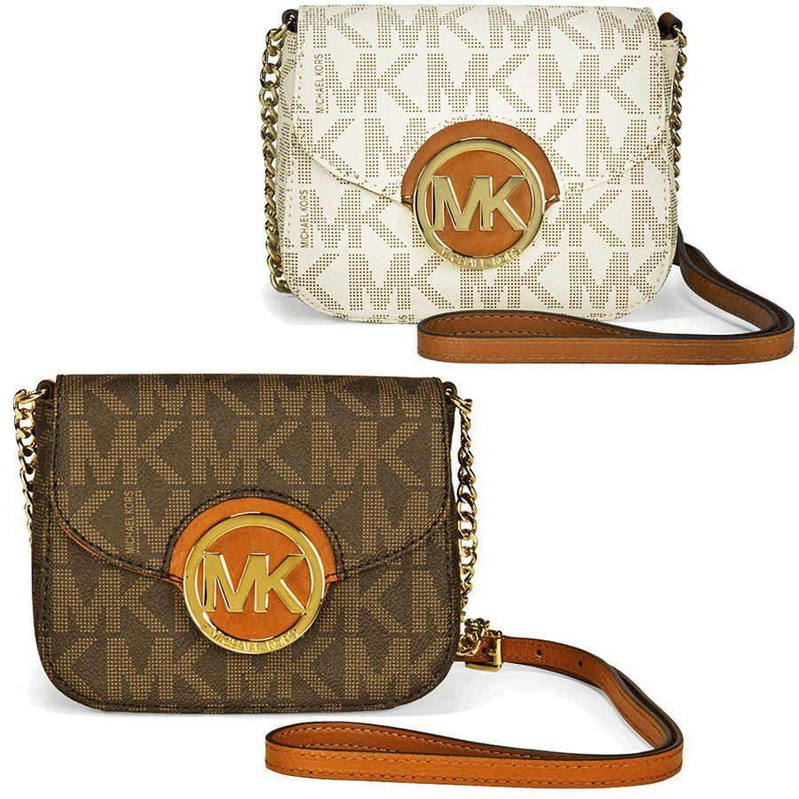 Michael Kors Logo Crossbody Bag Fulton Collection - Vanilla / Brown Signature