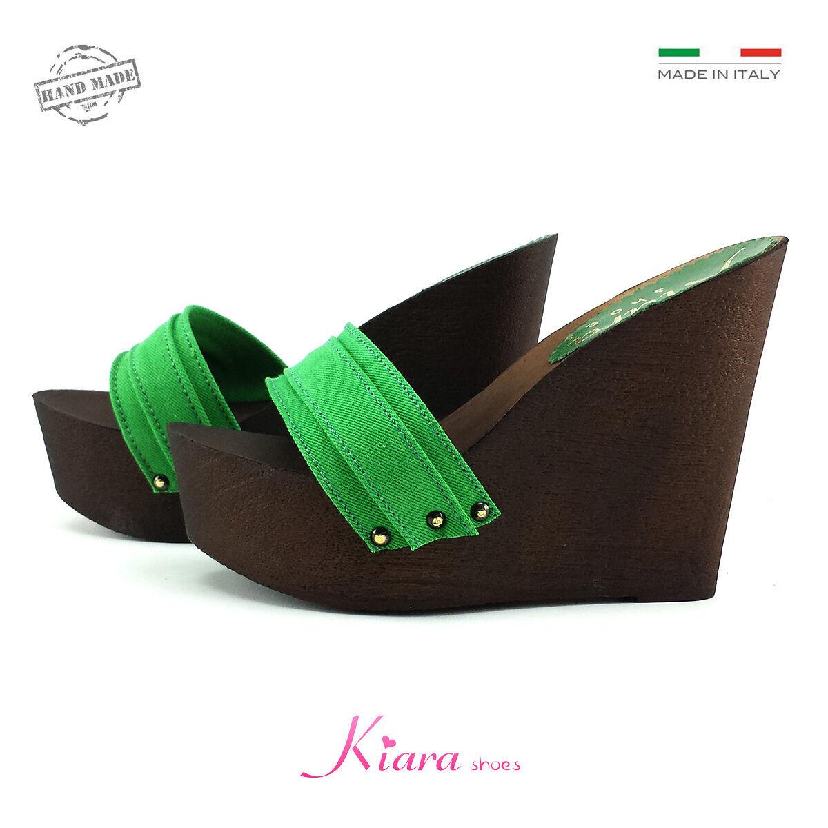 Zeppe Zatteroni Zoccoli Verdi - Scarpe Made in Italy N. da 35 a 41 - Tacco 13
