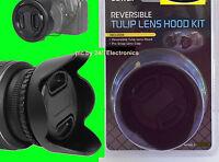 62mm Reversible Flower Tulip Hood+lens Cap+holder To Camera Nikon Bower