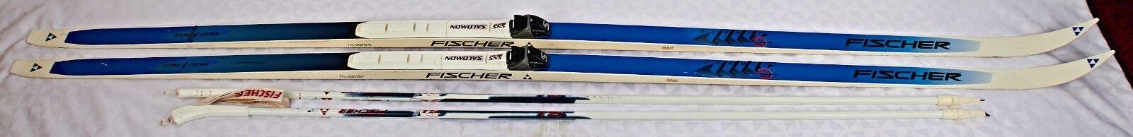 FISCHER Double Crown Skis mit Salomon Prifit Bindings 212 CM w.