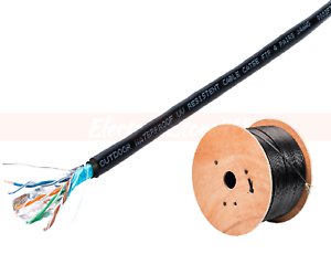1000ft Cat5e Cat5 Outdoor Ethernet Cable Shielded FTP Solid Direct Burial Black