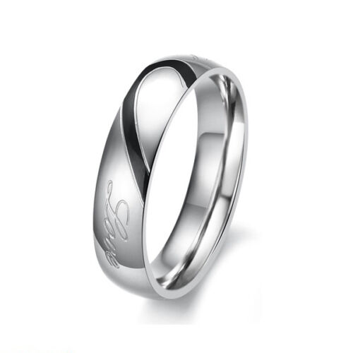 Couple Love Heart Stainless Steel Comfort Fit Wedding Bands Promise Ring