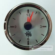QUARZUHR UHR ZIFFERBLATT WEISS  CLOCK  AUTO + MARINE  12+ 24V CHROMRING WHITE