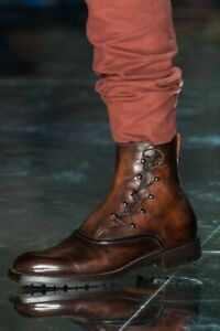 Men-039-s-Handmade-Pure-Leather-Military-Style-Boots-Custom-Leather-Field-boots