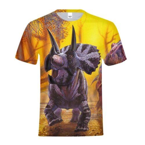 3D Dinosaur Animal Print Kids T-Shirt Short Sleeve Crew Neck Casual Tops Shirts
