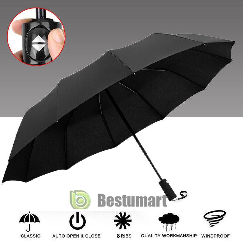 8 Ribs 3 Folding Anti UV Sun Rain Umbrella Automatic Compact Windproof Fashion