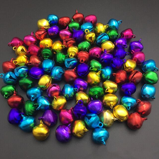6mm 100 Pcs Colorful Aluminum Loose Beads Christmas Jingle Bells Pendants Charms