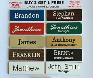 1X3 EMPLOYEE PERSONALIZED NAME TAG BADGE WITH MAGNET IDENTIFICATION ENGRAVED